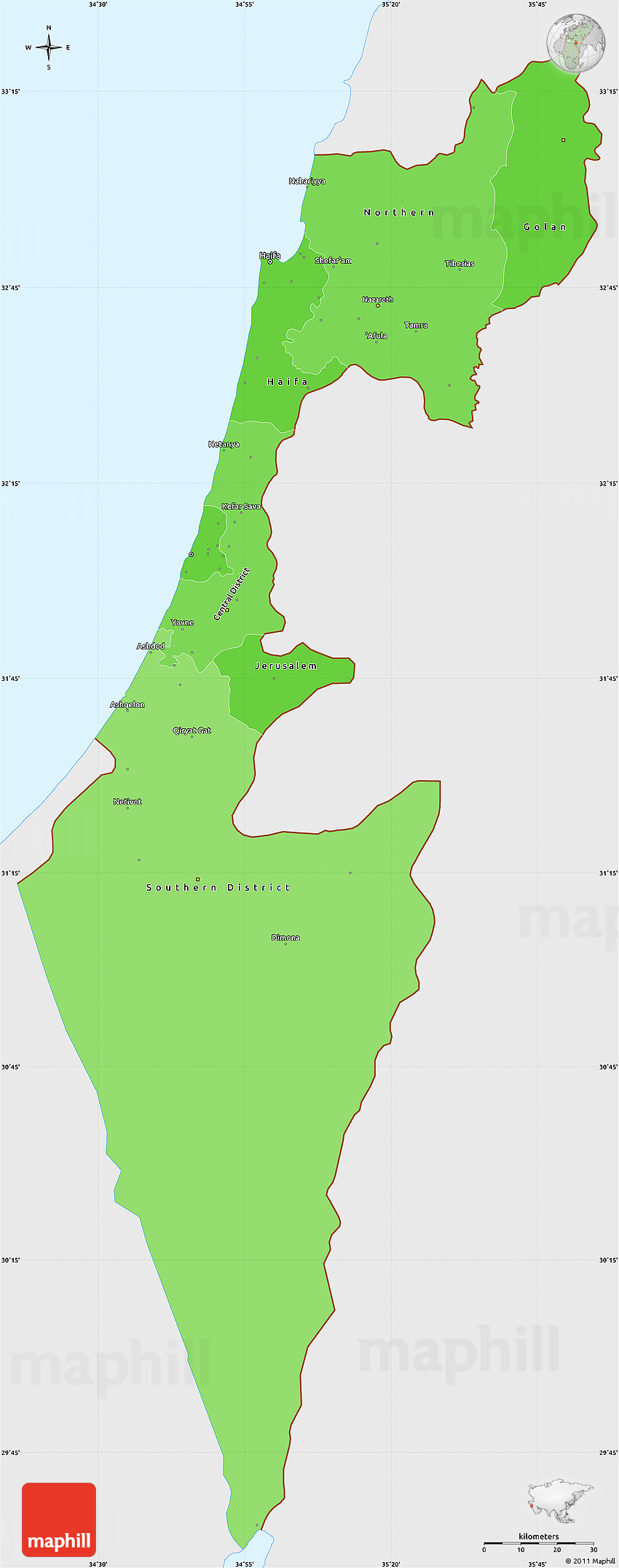 Political Shades Simple Map Of Israel Single Color Outside - Israel map