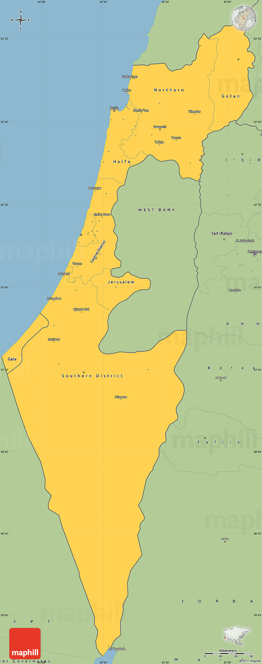 Savanna Style Simple Map of Israel