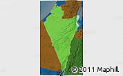 Political 3D Map of Southern District, darken