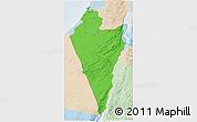 Political 3D Map of Southern District, lighten
