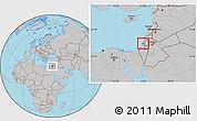 Gray Location Map of Tel Aviv