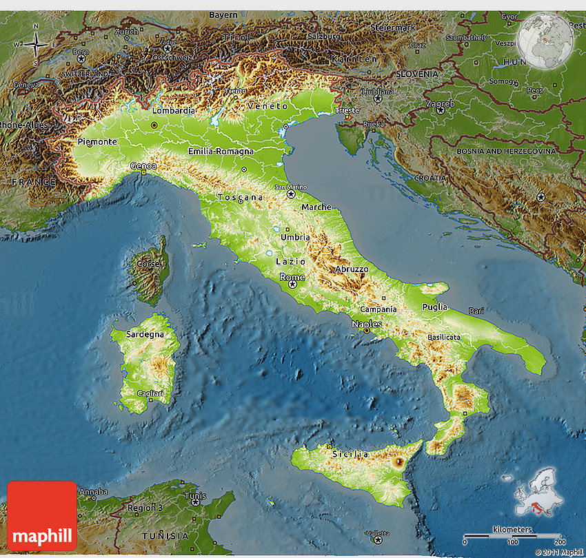 Physical D Map Of Italy Darken - Map of italy physical