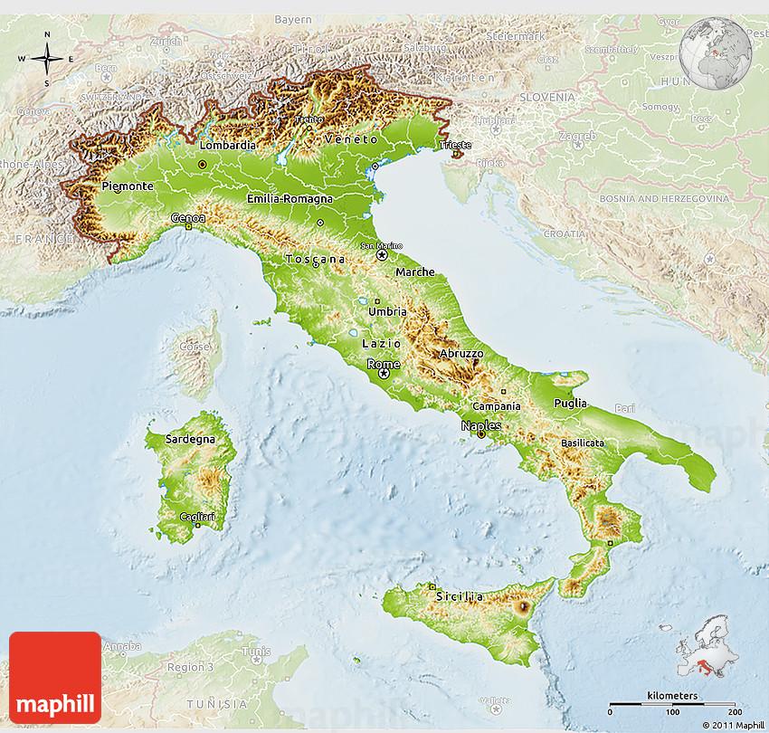 Physical 3D Map of Italy lighten