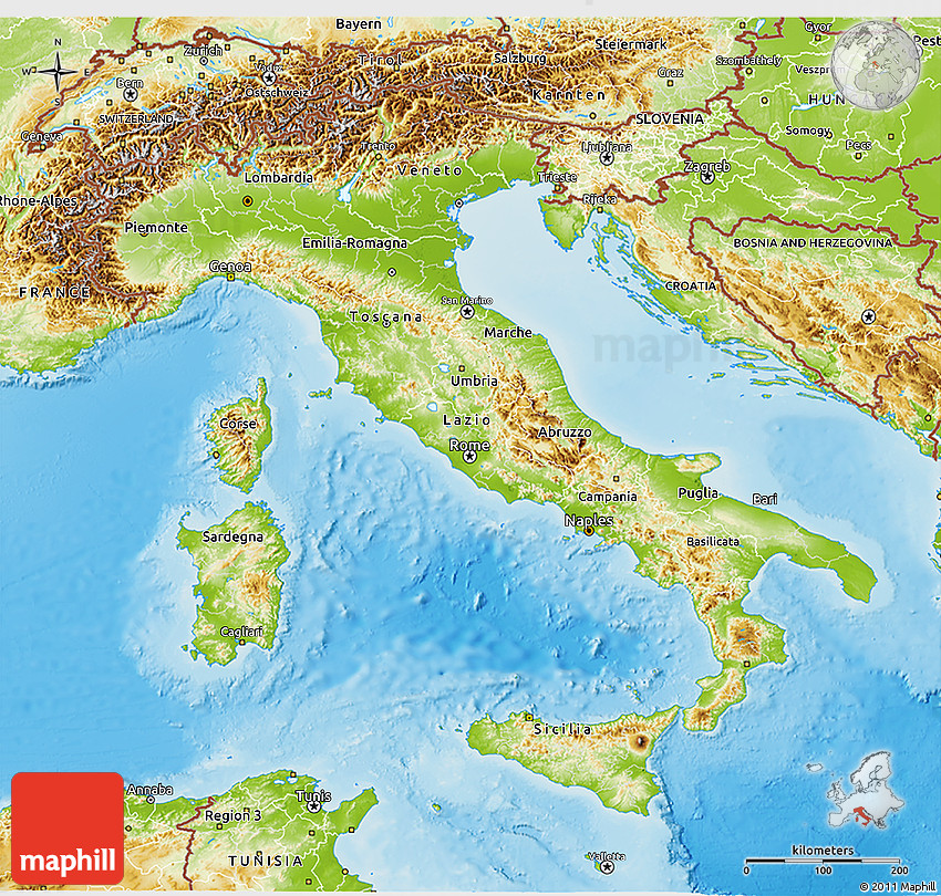 Physical 3D Map of Italy