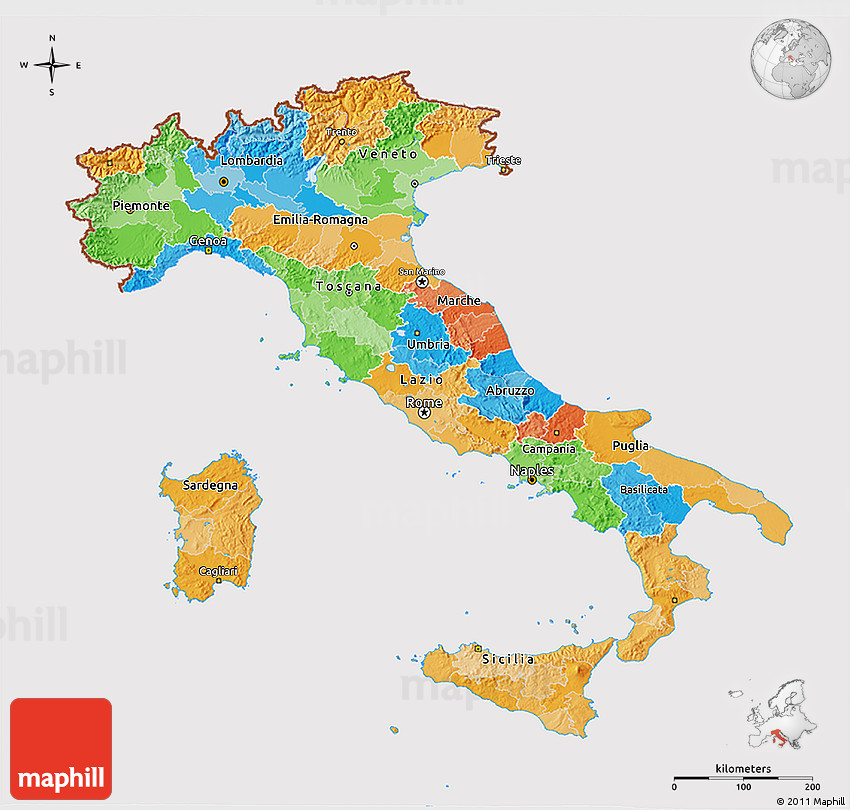 Political 3D Map of Italy cropped outside