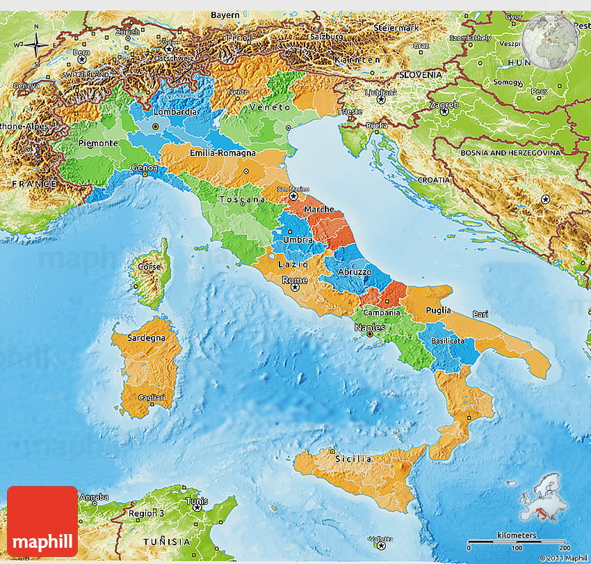 Political D Map Of Italy Physical Outside - Map of italy physical