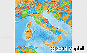 Political 3D Map of Italy