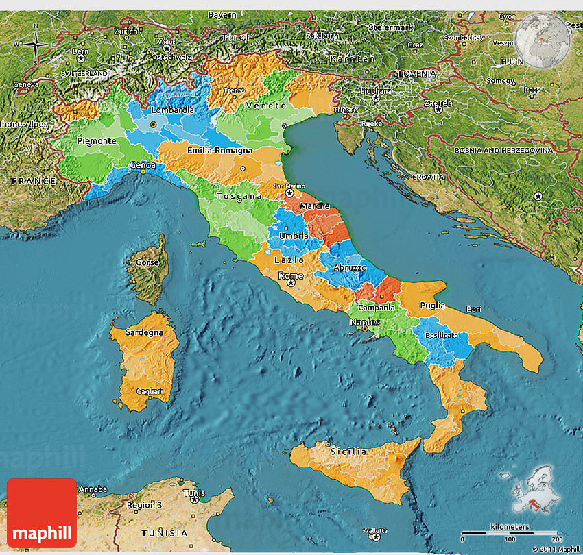 Political 3D Map of Italy satellite outside