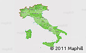 Political Shades 3D Map of Italy, cropped outside