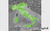 Political Shades 3D Map of Italy, darken, desaturated