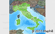 Political Shades 3D Map of Italy, darken, semi-desaturated, land only