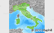 Political Shades 3D Map of Italy, desaturated, land only