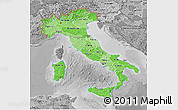 Political Shades 3D Map of Italy, desaturated