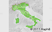 Political Shades 3D Map of Italy, lighten, desaturated