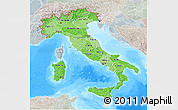 Political Shades 3D Map of Italy, lighten, semi-desaturated, land only