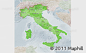 Political Shades 3D Map of Italy, lighten, semi-desaturated