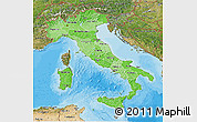 Political Shades 3D Map of Italy, satellite outside, bathymetry sea