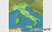 Political Shades 3D Map of Italy, satellite outside