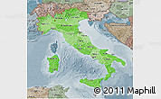 Political Shades 3D Map of Italy, semi-desaturated