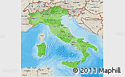 Political Shades 3D Map of Italy, shaded relief outside, bathymetry sea