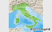 Political Shades 3D Map of Italy, shaded relief outside