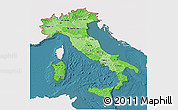 Political Shades 3D Map of Italy, single color outside, satellite sea