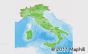 Political Shades 3D Map of Italy, single color outside, shaded relief sea