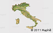 Satellite 3D Map of Italy, cropped outside