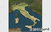 Satellite 3D Map of Italy, darken