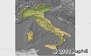 Satellite 3D Map of Italy, desaturated