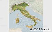 Satellite 3D Map of Italy, lighten