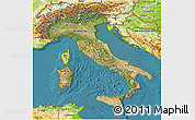 Satellite 3D Map of Italy, physical outside, satellite sea
