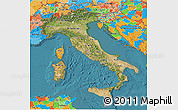 Satellite 3D Map of Italy, political outside, satellite sea