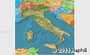 Satellite 3D Map of Italy, political shades outside, satellite sea