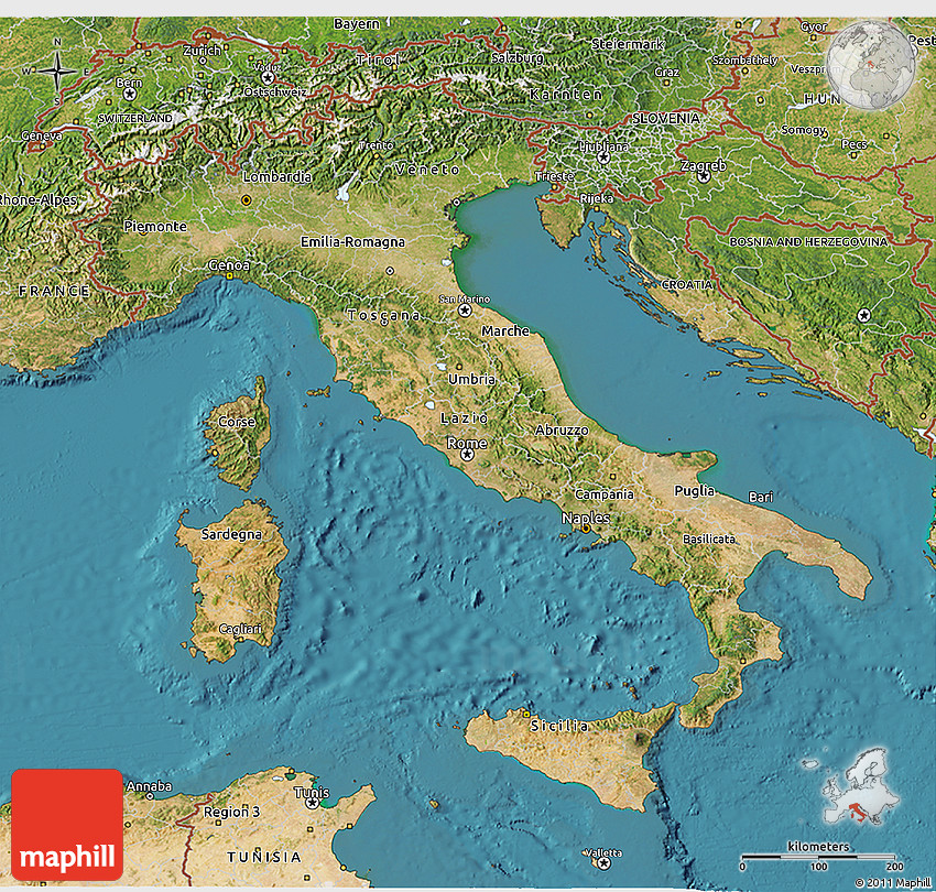Satellite D Map Of Italy - Map of italy