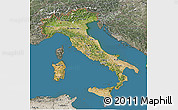 Satellite 3D Map of Italy, semi-desaturated, land only