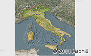 Satellite 3D Map of Italy, semi-desaturated
