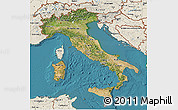 Satellite 3D Map of Italy, shaded relief outside, satellite sea
