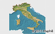 Satellite 3D Map of Italy, single color outside