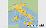 Savanna Style 3D Map of Italy, single color outside