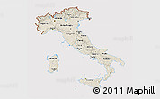 Shaded Relief 3D Map of Italy, cropped outside