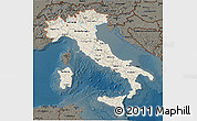 Shaded Relief 3D Map of Italy, darken