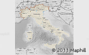 Shaded Relief 3D Map of Italy, desaturated