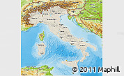 Shaded Relief 3D Map of Italy, physical outside