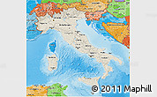 Shaded Relief 3D Map of Italy, political shades outside, shaded relief sea