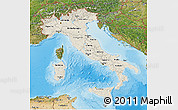 Shaded Relief 3D Map of Italy, satellite outside, shaded relief sea