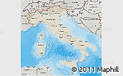 Shaded Relief 3D Map of Italy, semi-desaturated, land only