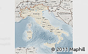 Shaded Relief 3D Map of Italy, semi-desaturated