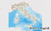 Shaded Relief 3D Map of Italy, single color outside