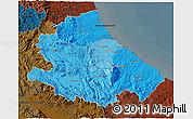 Political Shades 3D Map of Abruzzo, darken